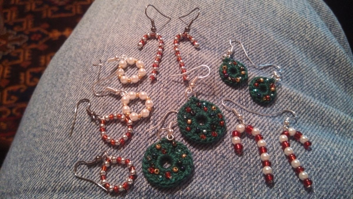 Hand made ear rings and lapel wreath pins