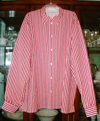 Red & white striped button front shirt