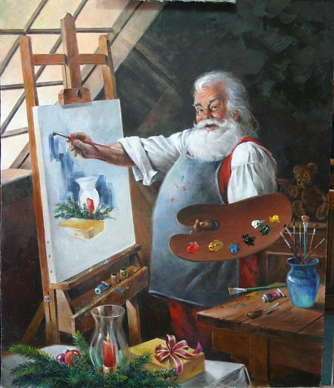"""Santa at the Easel"""