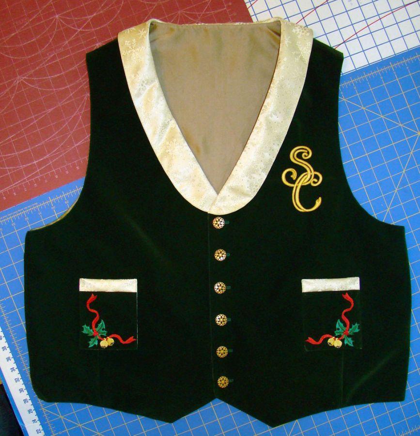 Green Velveteen Shawl Collar Vest