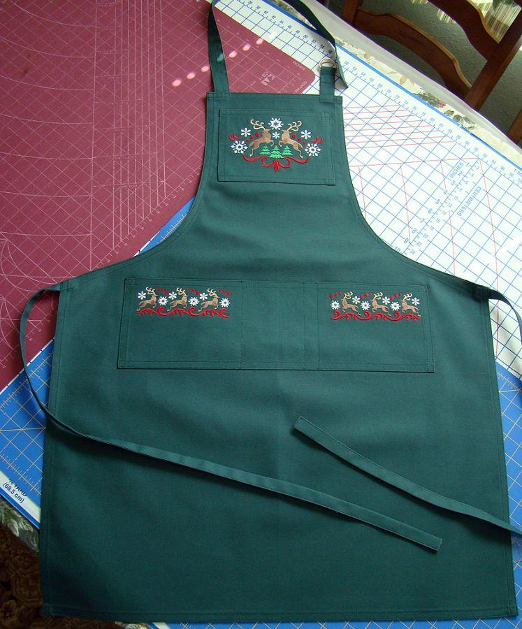 Green Canvas Embroidered Apron for SantaStephen