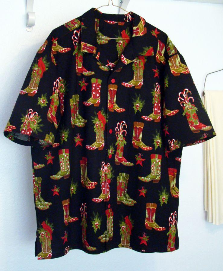 Christmas Cowbot Boots Hawaiian shirt