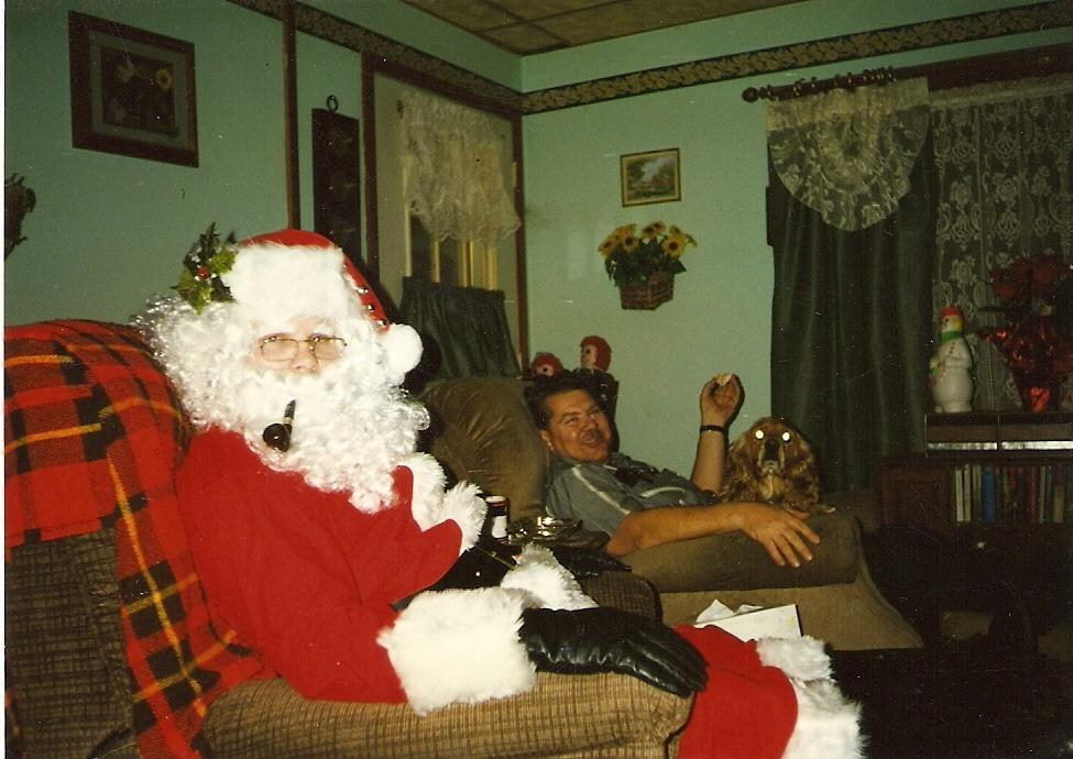 me (as santa) relaxing with my dad