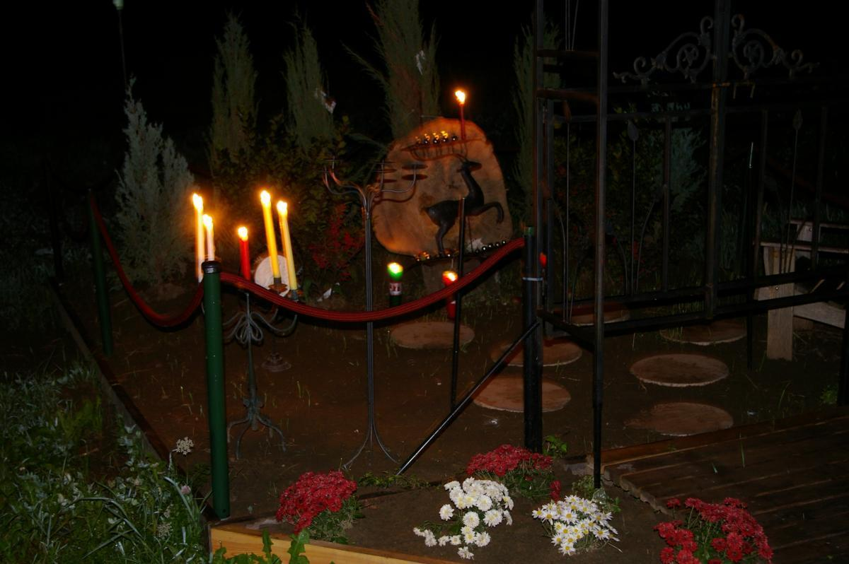 Reindeer Memorial at Farm by Candelight
