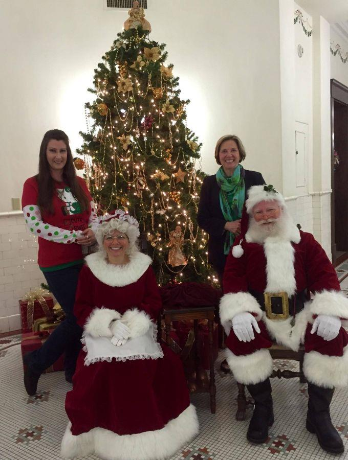 Polk History Center staff, Santa and Mrs. Claus.