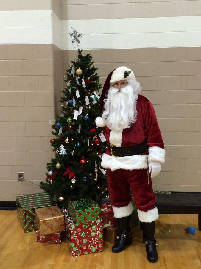Santa by the tree before making my stealth get away