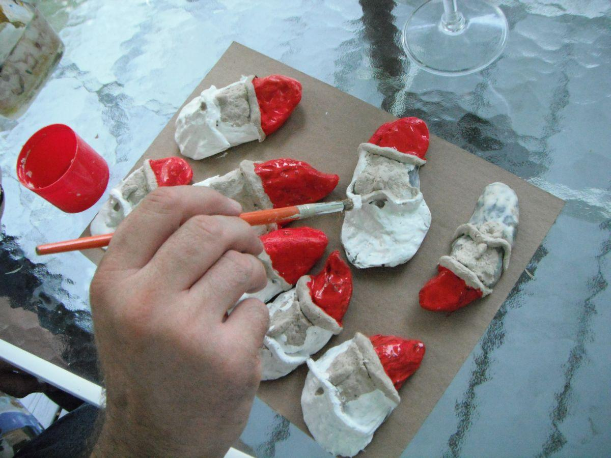 Painting Seashell Santas