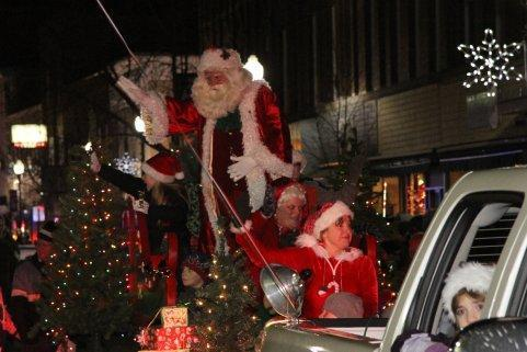 Arriving in Waterville in the Parade Of Lights on 11-27