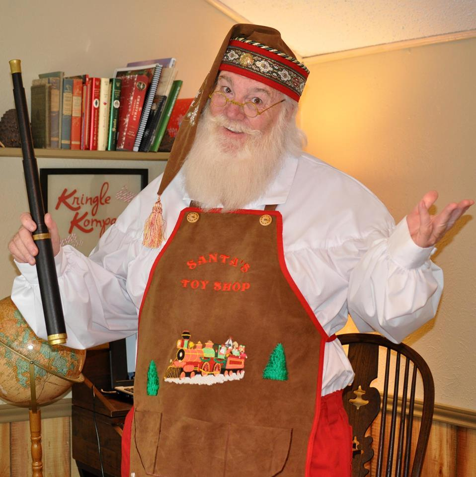 Santa's new Toy Shop hat and apron.