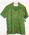 Green Hawaiian Shirt with bright stockings all over it.