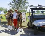 Santa with Hooter girls at fund raiser