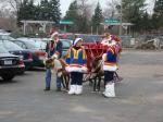 Santa arrives by reindeer drawn sleigh