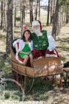 Santa, Elf And sleigh