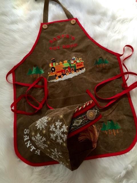 Santa's ToyShop apron and Hat