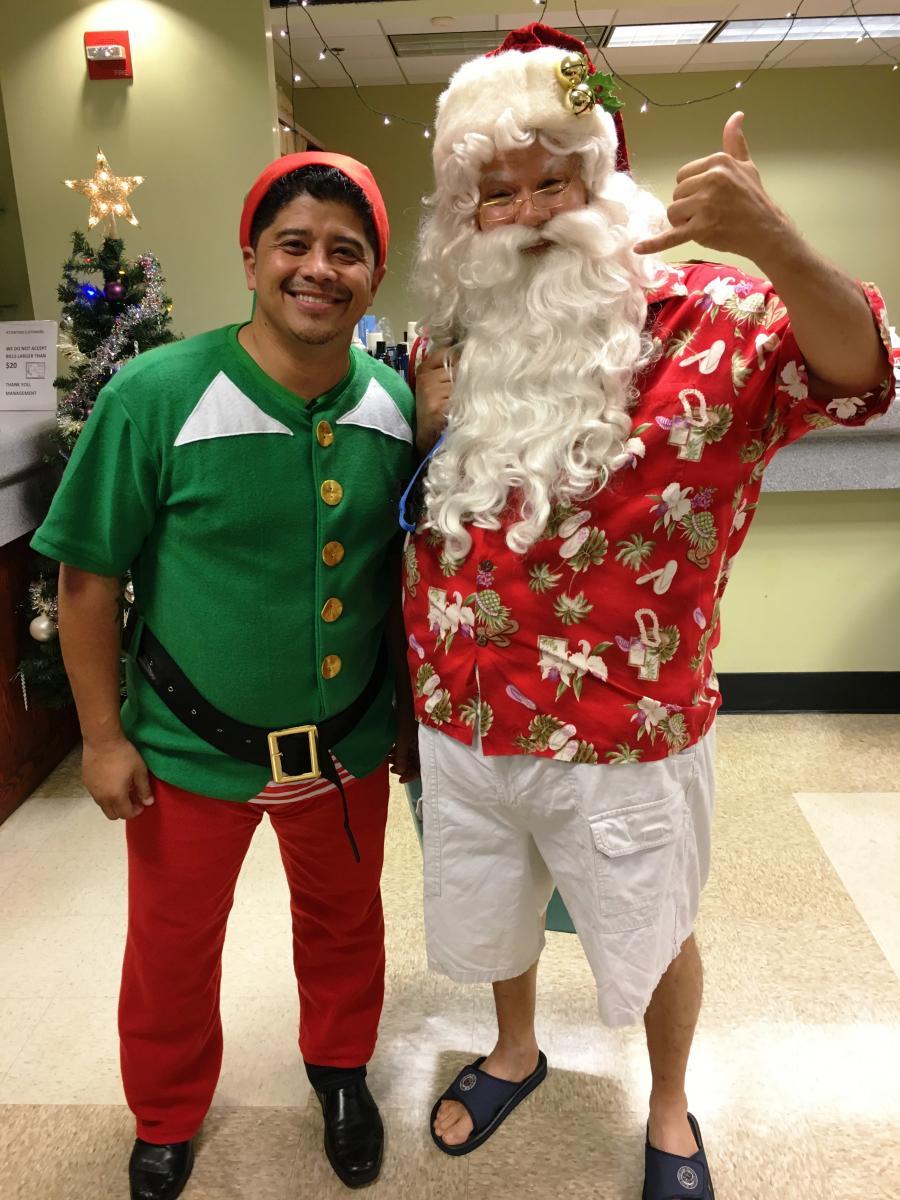 """""""Surf Santa"""" & Augie T elf"""