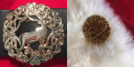 Reindeer wreath buckle and matching brooch