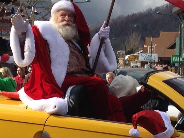 Parade Santa flying the flag