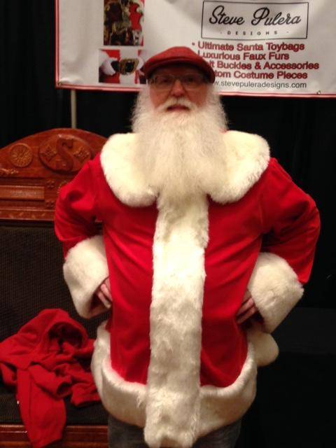 Santa Jim wearing the cola red cotton velvet
