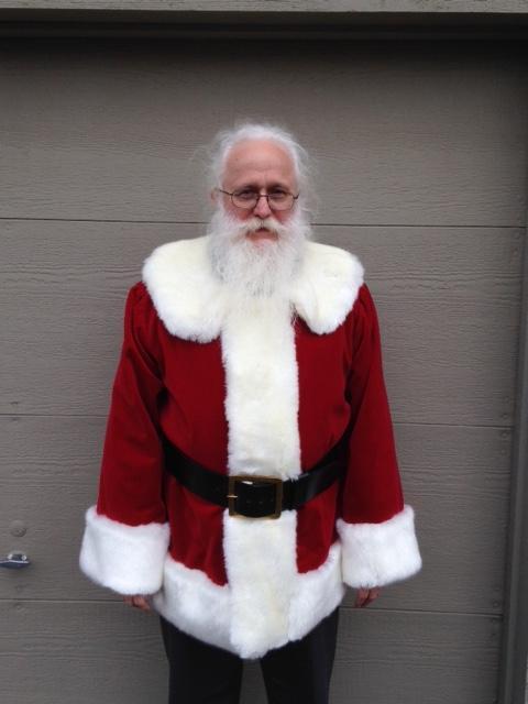 """Santa Rich with crimson cotton velvet traditional fur front suit, 3"""" belt"""