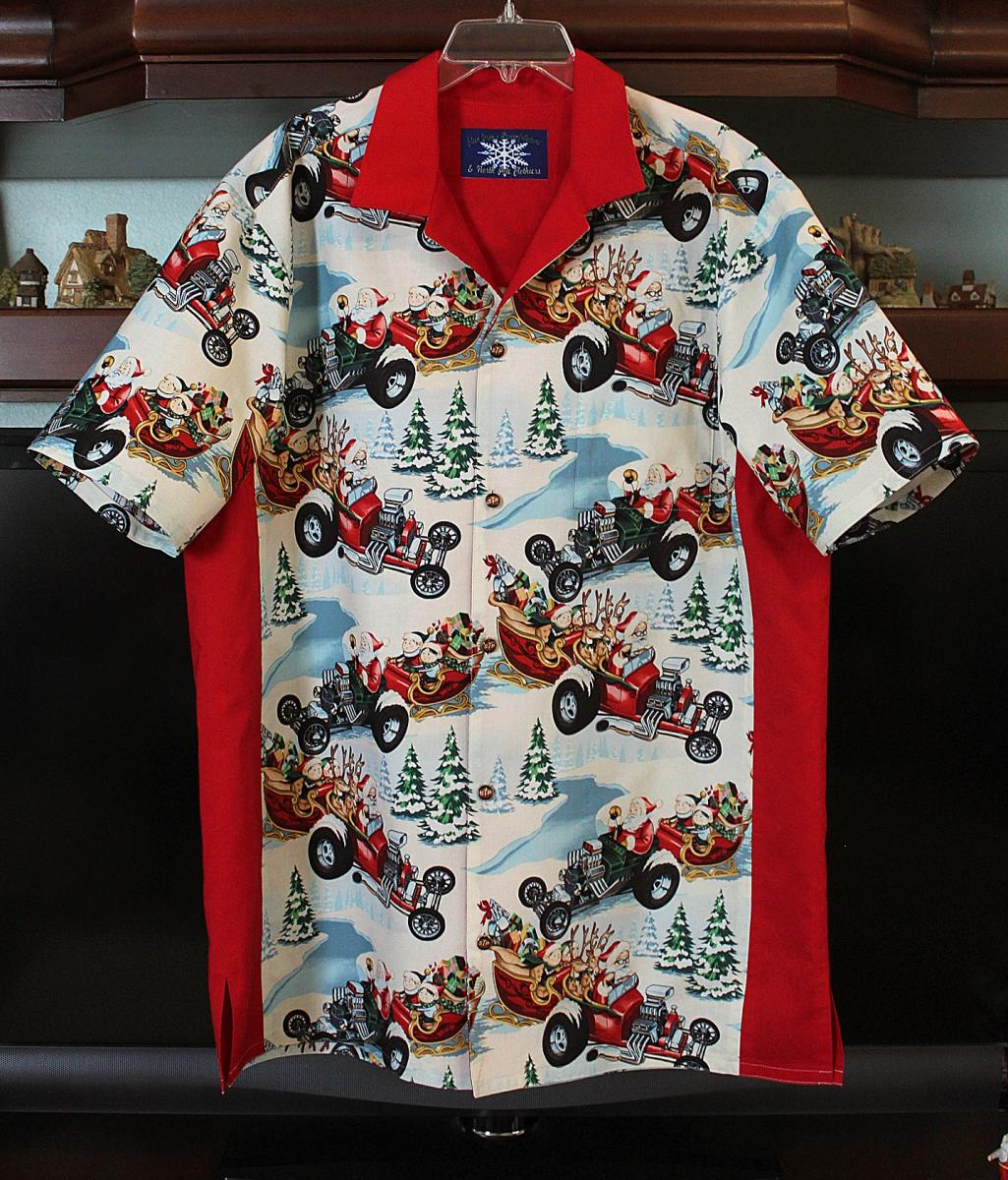 Hot Rod Santa Bowling Shirt